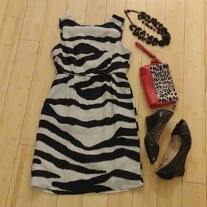 Banana Republic black and white linen dress Sz 0P